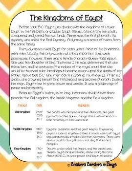 Kingdoms of Egypt Socratic Seminar Lesson Plan