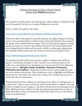 King's I Have a Dream Speech Literary Device Treasure Hunt ...