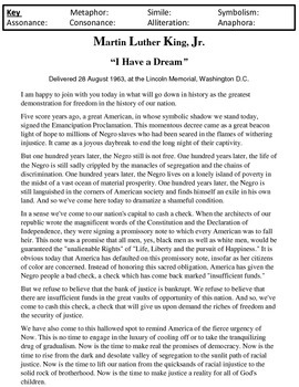 King's I Have a Dream Speech Literary Device Treasure Hunt