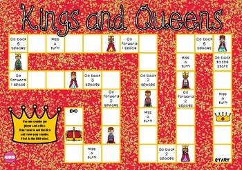 Kings and Queens Themed Game Board