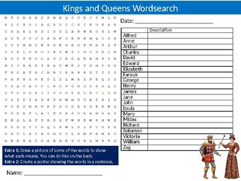 Kings and Queens Wordsearch Puzzle Sheet Keywords Activity Royalty History