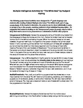 "Kiploing's ""The White Seal"" Fun Multiple Intelligence Activities"