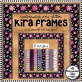 Kira Frames Glitter Watercolor Square Rectangle Clipart Borders Floral