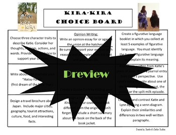 Kira-Kira Choice Board Novel Study Activities Menu Book Project Rubric