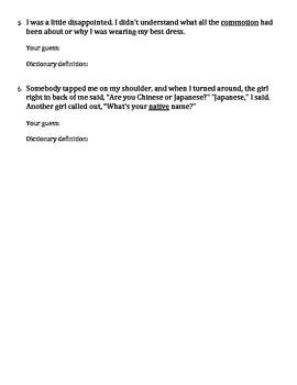 Kira Kira Vocabulary Context Clues Worksheet