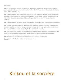 Kirikou et la Sorciere - Movie Unit w/ Answer Key