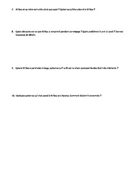 Kirikou et la Sorciere- questions de comprehension