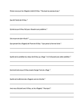Kirikou reading questions: pages 115-121