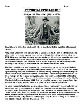 Kirkpatrick Macmillan Biography Article and (3) Assignments