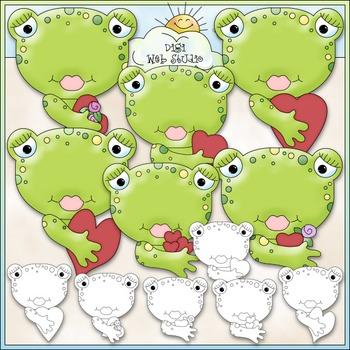 Kiss A Boy Toad Clip Art - Valentine's Day Clip Art - Frogs - CU Clip Art & B&W