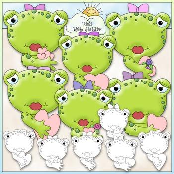 Kiss A Girl Toad Clip Art - Valentine's Day Clip Art - Frogs - CU Clip Art & B&W