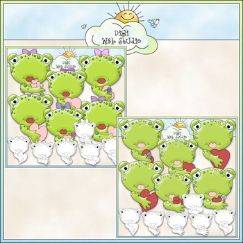 Kiss A Toad Clip Art Bundle - Valentine's Day - 2 Clip Art