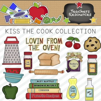 Kiss The Cook Clipart Collection    Commercial Use Allowed