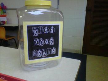 Kiss Your Brain Label for Reward Jar