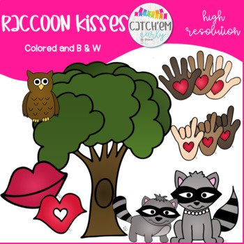 Raccon Kisses Black and White
