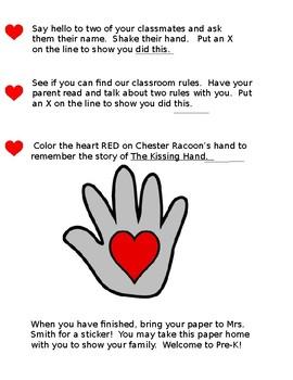 Kissing Hand Classroom Scavenger Hunt