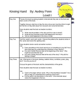 Kissing Hand Guided Reading Plans