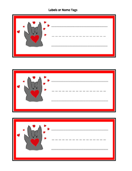 Kissing Hand Labels, Name Tags, Counting Mats