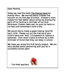 Kissing Hand Parent Letter