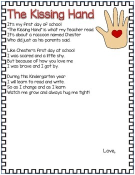 Kissing Hand Poem for 1st Day of School