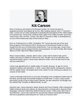 Kit Carson Article Biography and Assignment