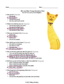 Kit Visits Kat (Carol Ghiglieri's story) Comprehension Test or Practice w/ Key