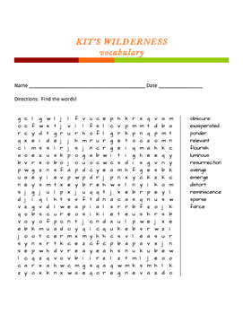 Kit's Wilderness word search