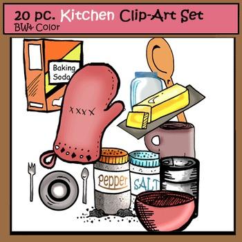 Kitchen 20 Clip-Art Set: 10 B&W, 10 Color