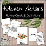 Kitchen Actions Picture and Term Cards for Adult Speech Therapy