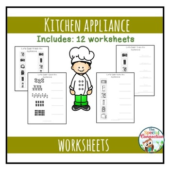 Kitchen Appliance Worksheet And Adapted Book Bundle