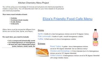 Kitchen Chemistry Menu Project