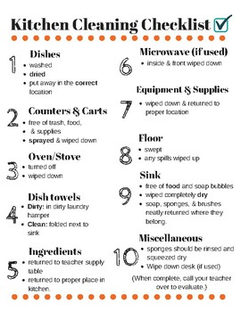 Kitchen Cleaning Checklist For FCS Labs