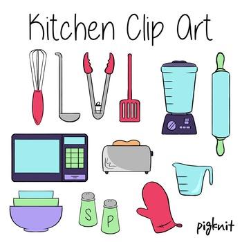 Kitchen Clip Art, Appliances, Baking, Blender, Microwave, Spatula, Ladle, Bowls