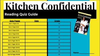 Kitchen Confidential Reading Quizzes & Answer Keys for Culinary Arts