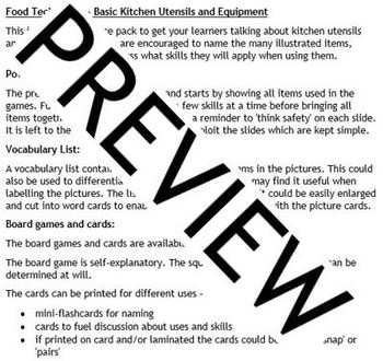 Kitchen, Cooking, Health - Utensils and Equipment Activity Pack