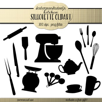 Kitchen Cooking Silhouette Clipart, commercial use
