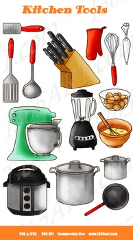 Kitchen Cooking Supplies Clipart Set 15 Digital Graphics I