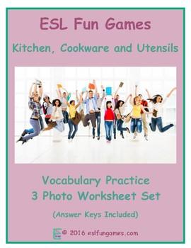 Kitchen, Cookware and Utensils 3 Photo Worksheet Set