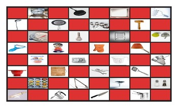 Kitchen Cookware and Utensils Checker Board Game