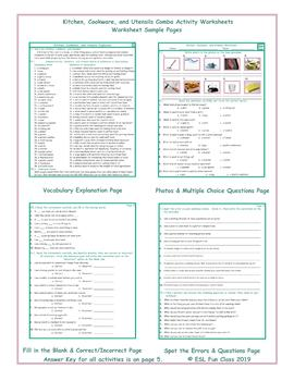 Kitchen, Cookware, and Utensils Combo Activity Worksheets