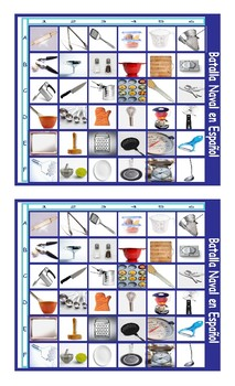 Kitchen Cookware and Utensils Spanish Legal Size Photo Battleship Game