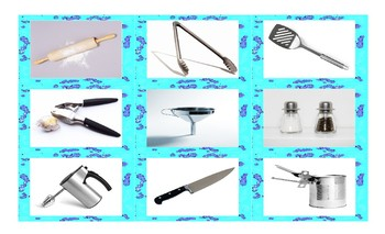Kitchen Cookware and Utensils Spanish Legal Size Photo Card Game