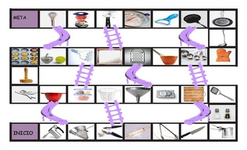 Kitchen Cookware and Utensils Spanish Legal Size Photo Chutes and Ladders  Game