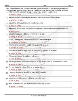 Kitchen Cookware and Utensils Spelling Hunt Worksheet