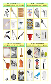 Kitchen Cookware and Utensils Tic-Tac-Toe or Bingo