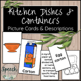 Kitchen Dishes & Containers Picture and Term Cards for Adu