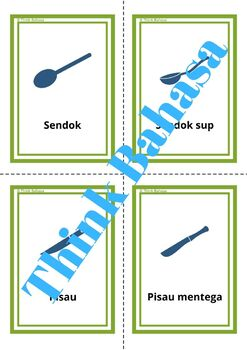 Kitchen & Eating Utensils Indonesian English Vocabulary Flashcards