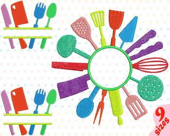Kitchen Embroidery Design Split Circle Frame Utensils Cooking Baking