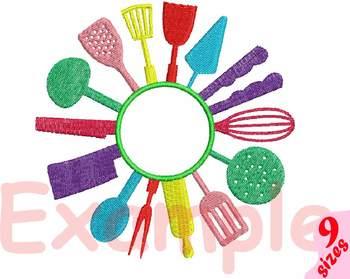 Kitchen Embroidery Design split circle frame Utensils Cooking Baking Tools 164b