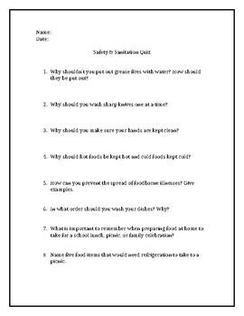 Kitchen Safety Quiz Worksheets Teaching Resources Tpt